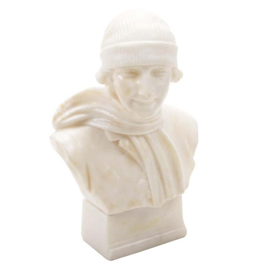 Carved Alabaster Bust of Woman