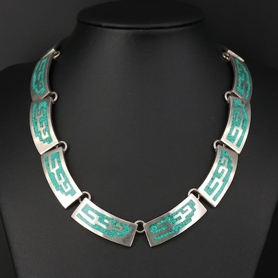 Vintage Taxco Sterling Chip Turquoise Collar