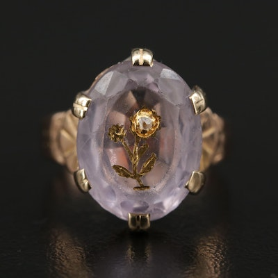Victorian 14K Rose Gold Amethyst and Diamond Floral Ring
