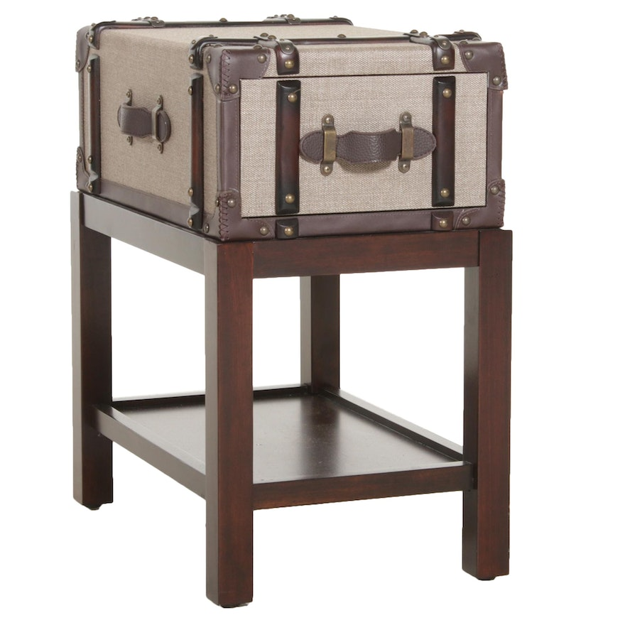 Canvas and Leather Suitcase End Table