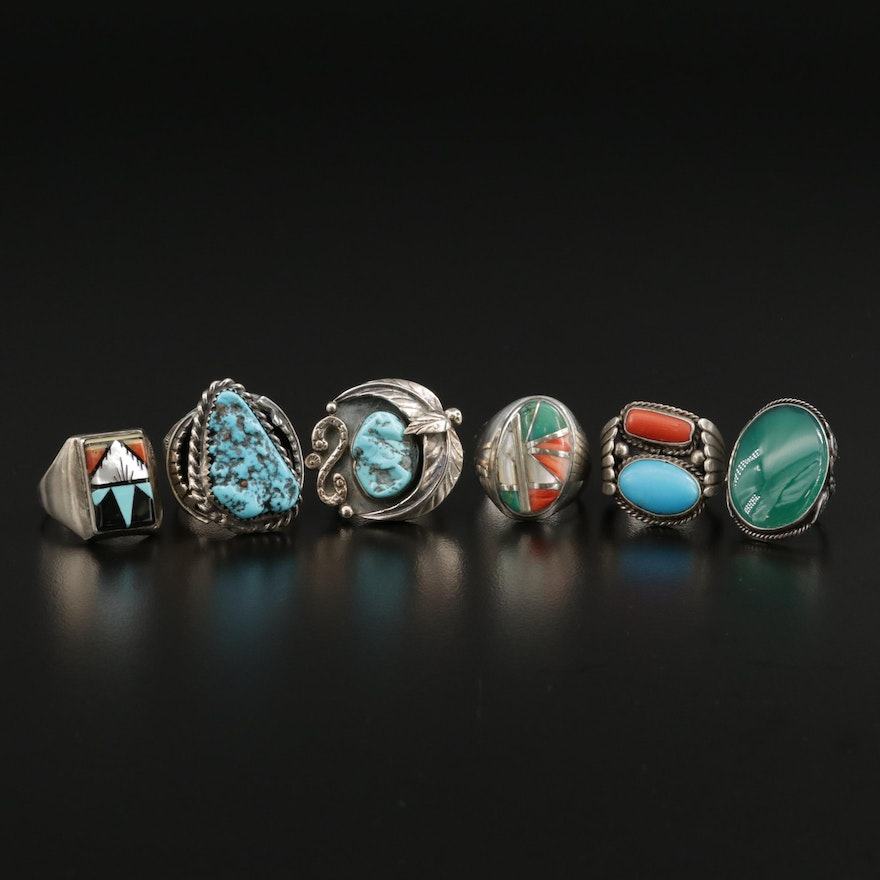 Vintage Southwestern Rings with Coral, Turquoise, Mother of Pearl and more
