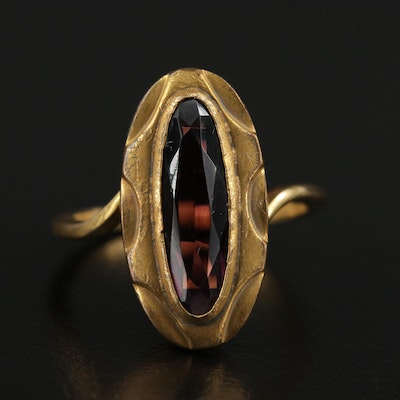 Vintage 14K Yellow Gold Glass Ring