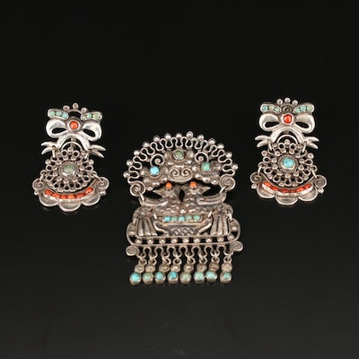 Mat-Matilde Poulat & Ricardo Salas Mexican Brooch and Clip-On Earrings Set