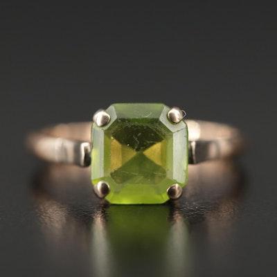 10K Rose Gold Peridot Ring