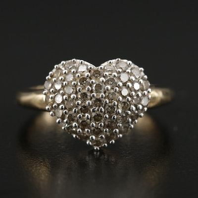 14K Yellow Gold 1.05 CTW Diamond Heart Ring
