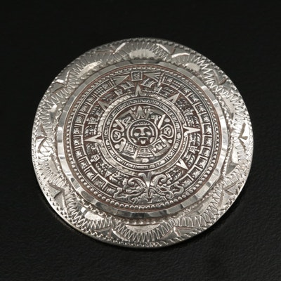 Mexican Sterling Silver Mayan Calendar Converter Brooch