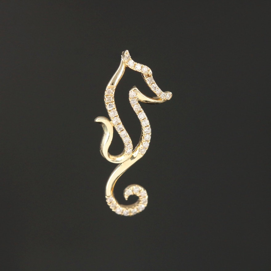 10K Yellow Gold Diamond Seahorse Pendant