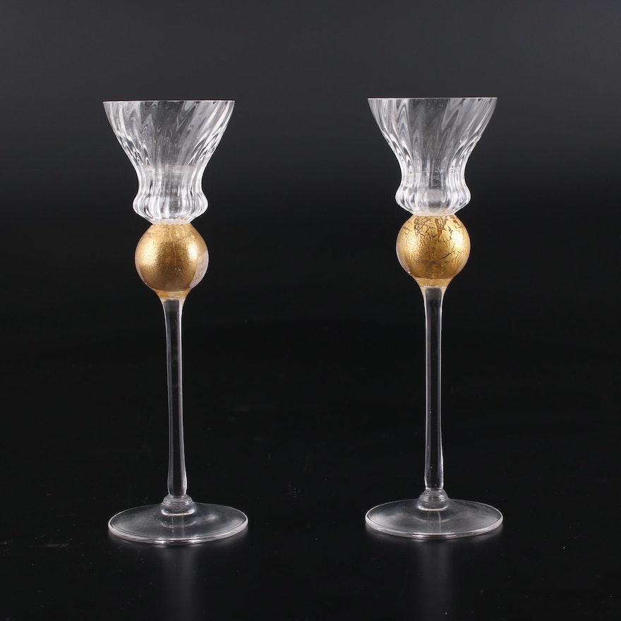 "Pair of Union Street Glass ""Manhattan"" Hand Blown Crystal Candlesticks"