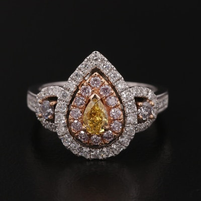 18K Gold 1.19 CTW Diamond Ring with 22K Accents