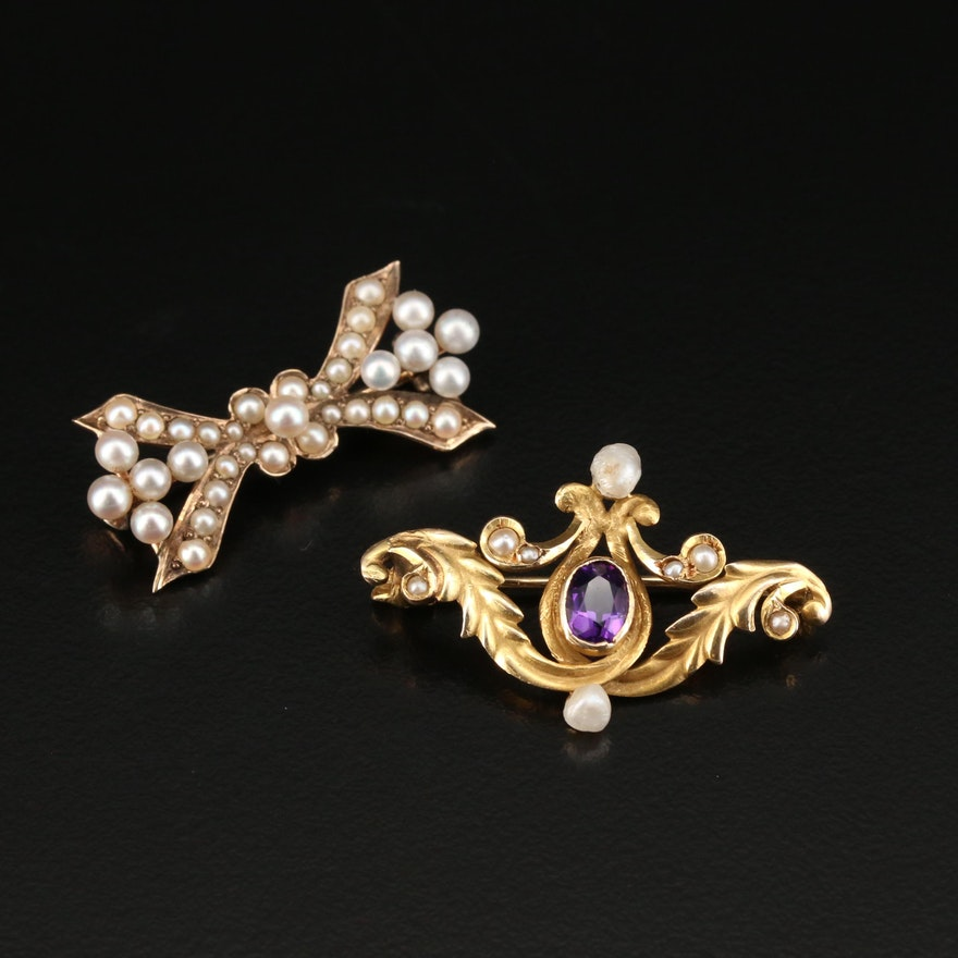 Early 1900s 10K and 14K Brooches