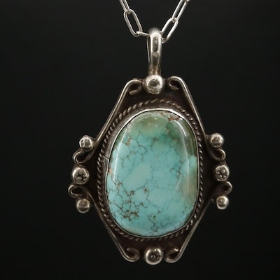 Southwestern Style Sterling Silver Turquoise Pendant Necklace