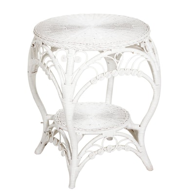 French Provincial Style White Painted Wicker Side Table