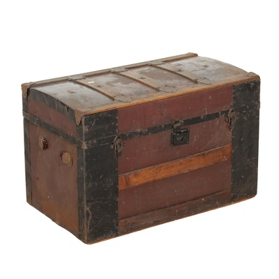 Late Victorian Wood and Metal Trunk, Circa 1900