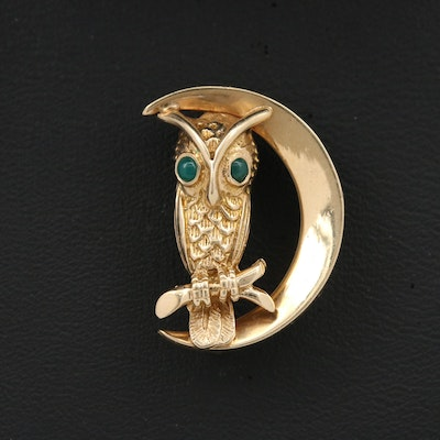 Vintage 14K Gold Chalcedony Owl and Crescent Moon Brooch