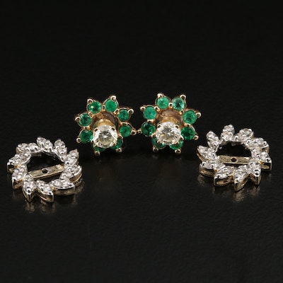 14K Diamond and Emerald Earrings with Diamond Earring Jackets