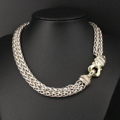 David Yurman Sterling Silver Double Wheat Chain Necklace With Garnet Accents