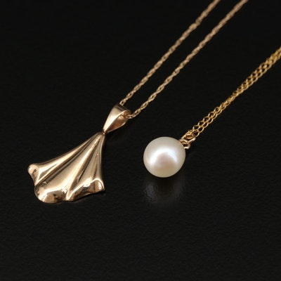 14K Pearl and Fan Pendant Necklaces