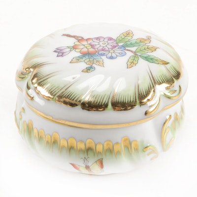 "Herend ""Queen Victoria Green"" Porcelain Bonbonnière"