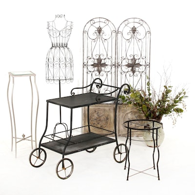 Wire Dress Form, Pedestal, Wire Mesh Bar Cart, Side Table and More
