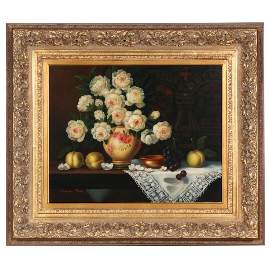 Lawrence Backer Still Life of Flowers and Fruit Oil Painting, Late 20th Century