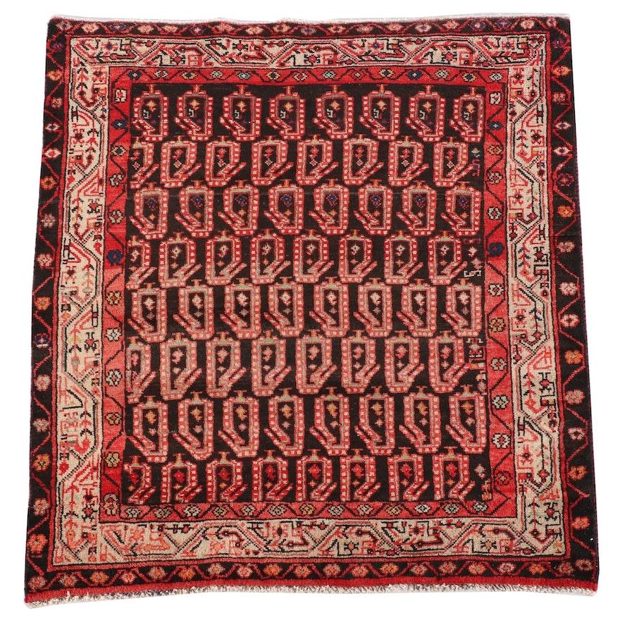 4'4 x 4'11 Hand-Knotted Persian Borujird Wool Rug