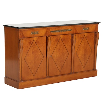 Maslow Freen French Empire Style Wood and Stone Top Sideboard