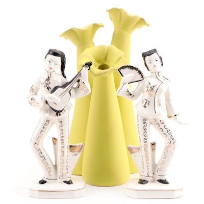 Japanese Artmark Ceramic Figurines with Yellow Ceramic Vase