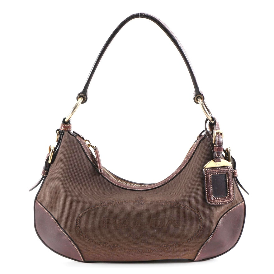 Prada Hobo Bag in Brown Canapa Canvas and Leather