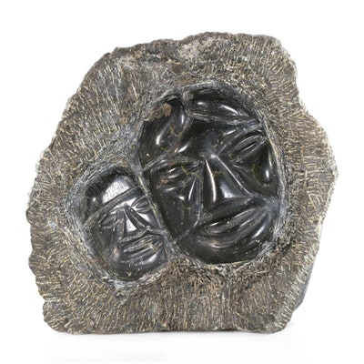 Inuit Style Soapstone Carving of Mother and Child