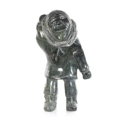 Adamie Sharky Cape Dorset Inuit Soapstone Carving