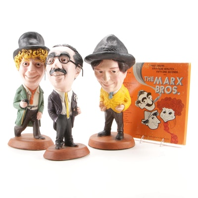 Cast Plaster Marx Brothers Figurines with Murray Hill Radio Broadcast Record Set