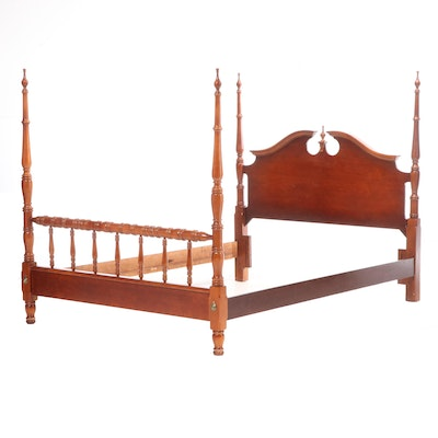 Federal Style Stained Hardwood Queen Size Poster Bed Frame