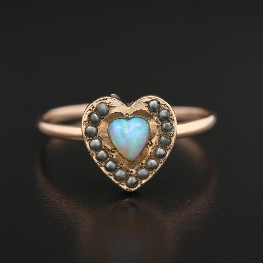 Opal and Seed Pearl Heart Ring Including 10K Yellow Gold