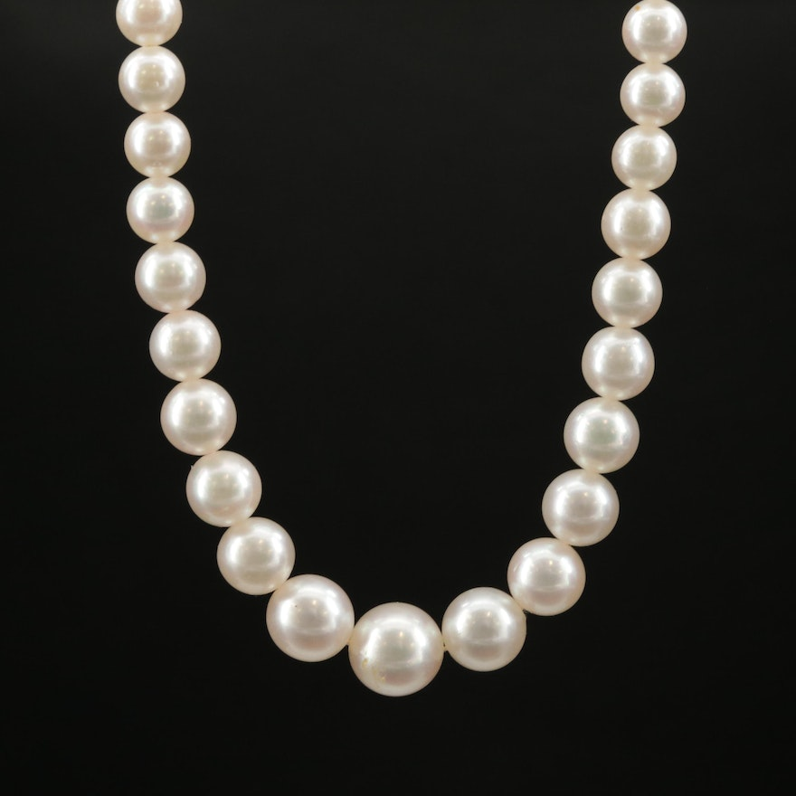 Pearl Graduating Necklace with 14K White Gold Clasp