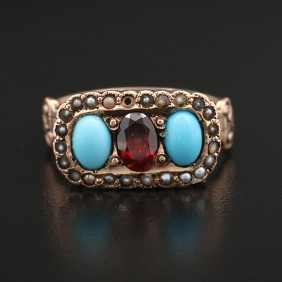 Victorian 9K Garnet, Turquoise and Seed Pearl Ring