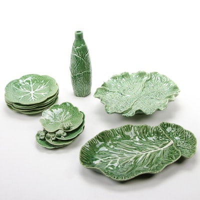 "Bordallo Pinheiro ""Cabbage Green"" Majolica Dinnerware, Late 20th Century"