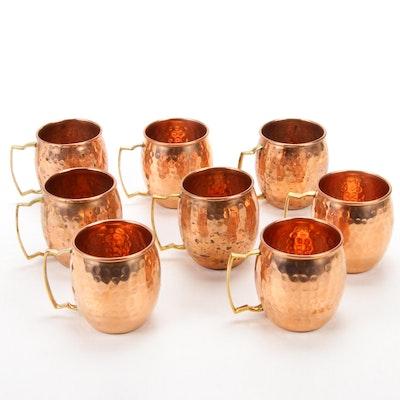 Eight Copper Moscow Mule Mug Set