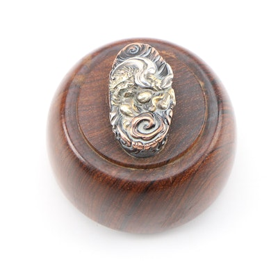 Asian Exotic Hardwood Paperweight with Mixed Metal Dragon Motif