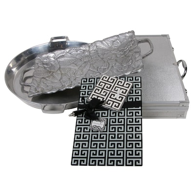 Stainless Steel Grilling Utensils with Case, Cheese Plate and Pewter Trays