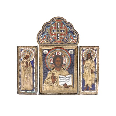 Eastern Orthodox Christ Pantocrator Cloisonné Enamel and Gilt Icon Triptych