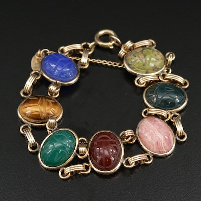 Vintage Burt Cassell Gold Filled Scarab Bracelet with Unakite and Bloodstone