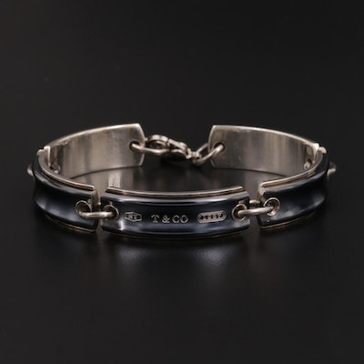 "Tiffany & Co. ""1837"" Sterling Silver and Black Titanium Link Bracelet"