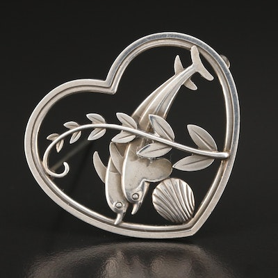 Vintage by Arno Malinowski for Georg Jensen #312 Double Dolphin Heart Brooch