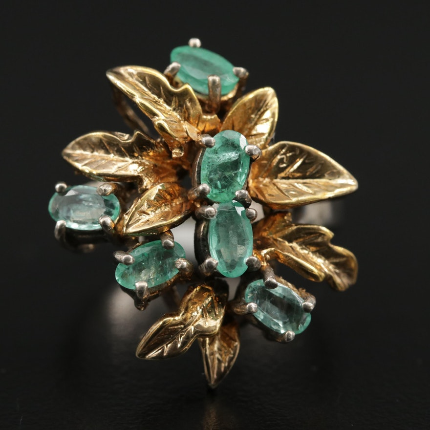 Vintage Sterling Emerald Ring with 14K Accents and Foliate Motif