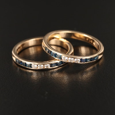 14K Yellow Gold Sapphire and Diamond Matching Band Set