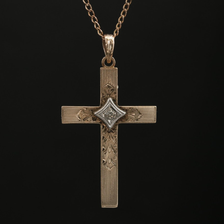 Vintage 10K Yellow Gold Diamond Cross Pendant Necklace
