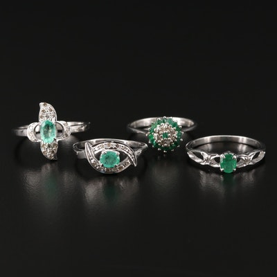 Sterling Silver Emerald and Diamond Rings