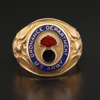 Circa 1945 WWII 10K Gold Ordnance Dept. U.S. Army Ring