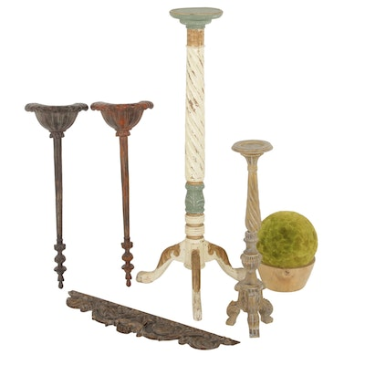 Wooden Pedestal, Wall Hanging and Other Home Decor