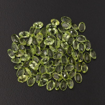 Loose Oval Faceted 40.66 CTW Peridot Gemstone Selection
